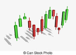 Forex candlestick chart over dark background. | CanStock