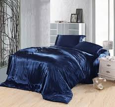 dark blue bedding set silk satin super king size queen ed sheet bed in a bag