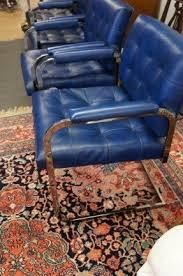 modern leather chairs with chrome. 4 matching mid century modern blue leather club arm chairs with chrome f