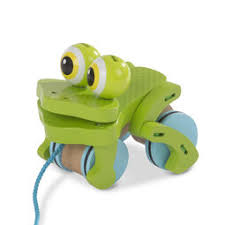 First Play Frolicking <b>Frog Wooden</b> Pull <b>Toy</b> - Melissa And Doug