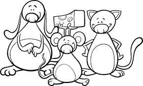 Schattige Huisdieren Cartoon Kleurplaat Vector Premium Download