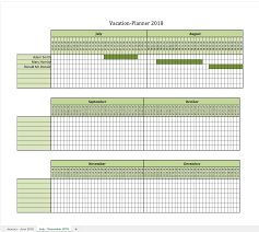 Vacation Planner 2018 Excel Templates For Every Purpose