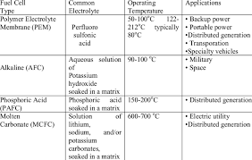 1 Comparison Chart Of Fuel Cells Download Table