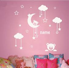cool idea baby nursery wall art designing inspiration personalized name kids room cute teddy bear moon