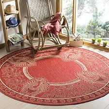 round outdoor rugs. Safavieh Courtyard Collection CY2965-3707 Red And Natural Indoor/ Outdoor Round Area Rug (5\u00273\ Rugs U