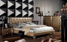 Armani Xavira Champagne Italian Top Leather Bed With Tufted Headboard  Contemporary Bedroom