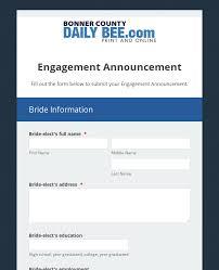 Newspaper Engagement Announcement Templates Hagadone Newspaper Engagement Announcement Form Template