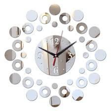 2018 new mirror 3d acrylic modern design bathroom clock watch diy wall clocks home decor quartz living room needle g