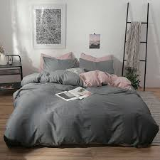 gray stripes pink duvet cover set