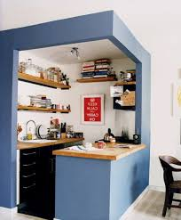 agreeable ikea small kitchen with blue cabinetry painted also wooden countertop as well as wooden floating shelves as storage in open small kitchen ideas