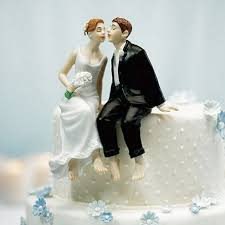 whimsical sitting bride and groom cake topper Wedding Cake Toppers Ginger Groom bride and groom sitting cake topper Funny Wedding Cake Toppers