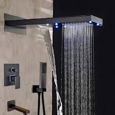 black finish wall mounted led waterfall shower head with handheld shower faucet