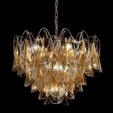 janet murano glass chandelier 7 lights amber and gold
