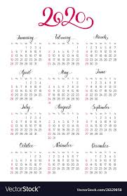 Calendar Yearly 2020 Basic Pocket Calendar Layout For 2020 Year