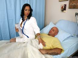 Busty raven doctor Isis Love in white stockings gets hardcored.