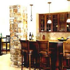 basement bar stone. White Ceiling For Basement Bar Ideas Plus Stone Wall And Wooden Dining  Table Set