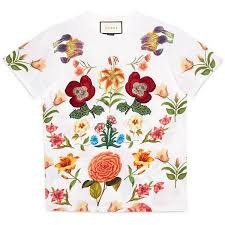 gucci queen shirt. gucci flower print cotton tee found on polyvore featuring tops, t-shirts, queen shirt