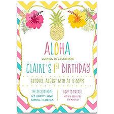 Tropical Party Invitations Amazon Com Aloha Birthday Party Invitations Girls Rainbow