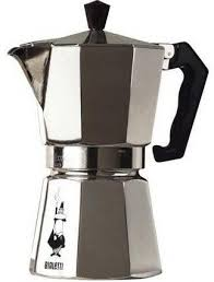 A Moka Pot is an Italian steam-based stovetop espresso maker that produces  a dark coffee almost as strong as that from a conventional espresso maker.