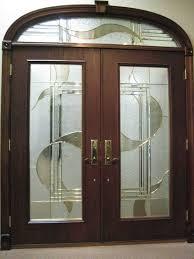 exterior cool dark brown wood fiberglass double entry half glass doors with gold lever door