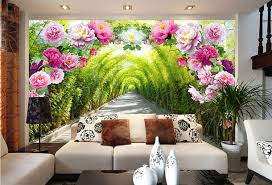 Small Picture Aliexpresscom Buy Romantic Rose Flowers Wall Mural Natural