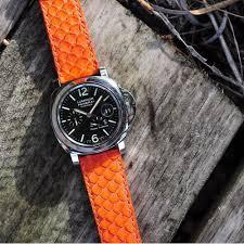 horus straps orange python leather watch strap
