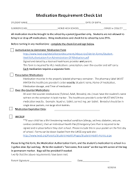 Medication Lists Templates Medication Requirement Checklist Templates At