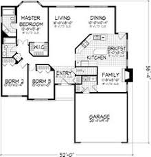 3 bedroom house plans with attached garage. family room without fireplace for play room. ranch style house plans - 1728 square foot home , 1 story, 3 bedroom and 2 bath, garage stalls by monster with attached