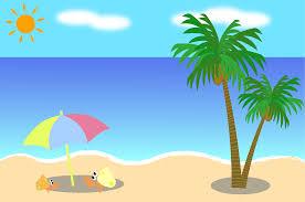 フリーイラスト ヤドカリとヤシの木と夏の海でアハ体験 Gahag 著作