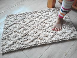 How To Knit A Rug Wave Chunky Soft Natural Cotton Hand Knit Rope Rug Rectangular Big
