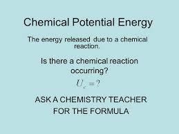 chemical potential energy elastic potential energy formula