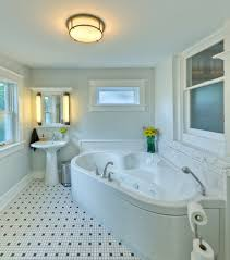 bathroom: Bright Small Bathroom Feat Mosaic Tiles Flooring And Completed  With Big Jacuzzi Bathtub And
