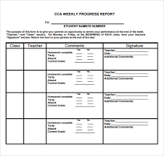 Printable Progress Reports For Elementary Students Sample Weekly Progress Report 13 Documents In Pdf Word