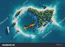 Tropical Island Yacht Summer Tropical Island Small Helicopter Flying Stock Illustration