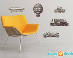 vintage vehicles fabric wall decals set of 5 antique transportation art stickers removable reusable repositionable sunny decals on antique cloth wall art with antique vehicles etsy