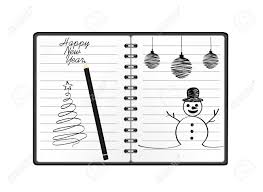 Template Of A Snowman Notebook Template With Christmas Snowman And Ball And Pencil
