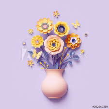 Paper Flower Bouquet In Vase 3d Render Craft Paper Flowers Inside Vase Yellow Floral