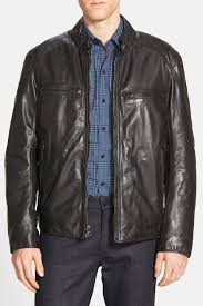 image of andrew marc mac lightweight leather moto jacket