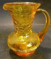 vintage hand blown amber le art glass pitcher applied handle excellent
