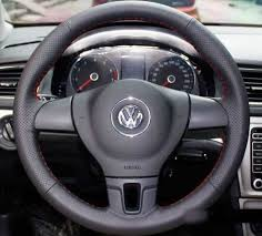 genuine leather steering wheel cover for vw golf mk6 passat b6 b7 cc