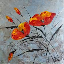 original acrylic abstract painting palette knife metallic poppies flowers stretched canvas 14 x 14