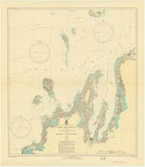 Manitou Oil Chart Lake Michigan Manitou And Fox Islands Historical Map 1935