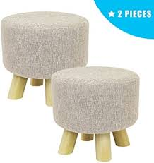 Jerry & Maggie - <b>2 Pieces</b> Footstool Fabric Ottomans <b>Bench Seat</b> ...