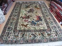 6 x 9 vintage hand made indo persian kashmir qum tabriz wool rug hunting