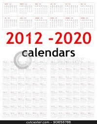 New Year 2012 2020 Calendars Stock Photo