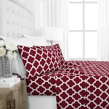 egyptian luxury 1800 hotel collection quatrefoil pattern bed sheet set deep pockets wrinkle and