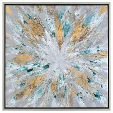 color burst large 40 wall art abstract sunburst yellow gray silver