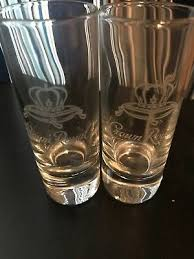 crown royal set of 2 tall shot glasses new etched glass