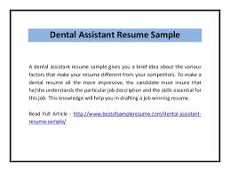 dental assistant resume resume objective dental assistant