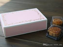 Decorative Cookie Boxes Middle Size Pink Gold Flower Decoration Cookie Dessert Biscuit Box 93